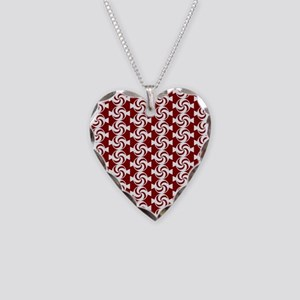 Red and White Sweet Peppermin Necklace Heart Charm