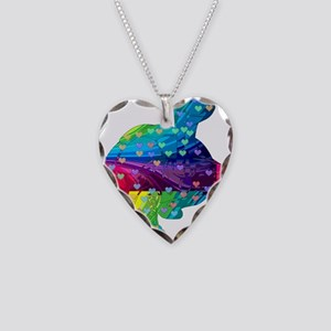 Rainbow Turtle With Multicolo Necklace Heart Charm