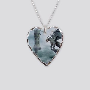 Tower Dragons Necklace Heart Charm