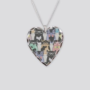Hipster Cats Necklace Heart Charm