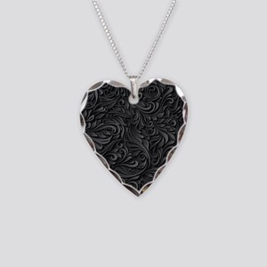 Black Flourish Necklace Heart Charm