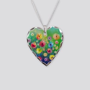 Watercolor Flowers Necklace Heart Charm
