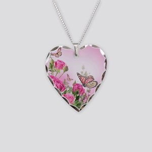 Butterfly Flowers Necklace Heart Charm