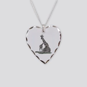 Giraffes Necklace Heart Charm