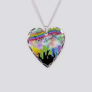 Colorful Musical Theme Necklace Heart Charm