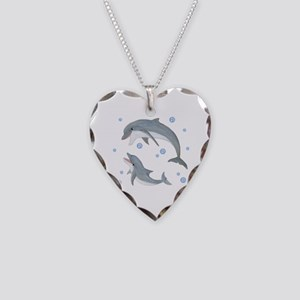 Dolphin Necklace Heart Charm