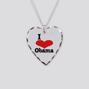 I Love Obama Necklace Heart Charm