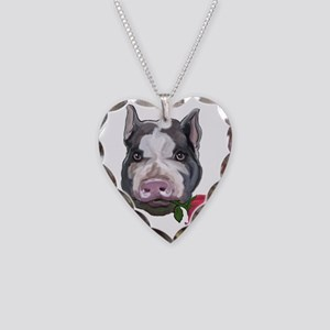pot bellied pig Necklace Heart Charm