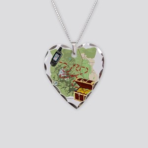 Geocache to Treasure Necklace Heart Charm