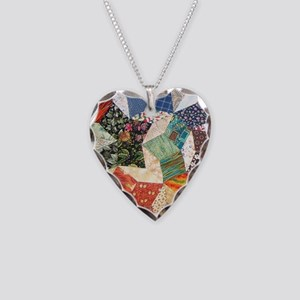 Tumbling Block Patchwork Quilt Necklace Heart Char