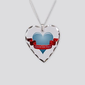 Geocacher Ribbon Necklace Heart Charm