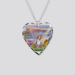 Cloud Angel / Chihuahua (f) Necklace Heart Charm