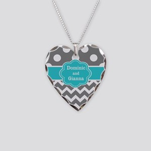 Gray Teal Dots Chevron Personalized Necklace
