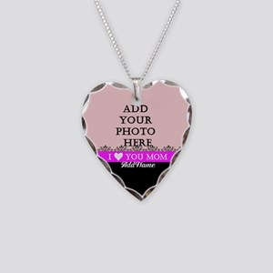 I Love You Mom Necklace Heart Charm