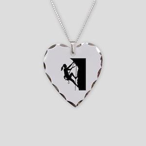 Climbing woman girl Necklace Heart Charm