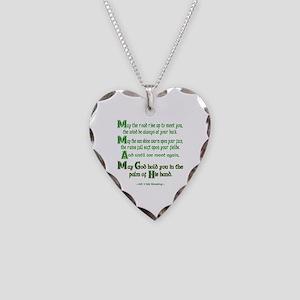 Irish May the Road Necklace Heart Charm