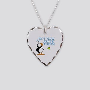 Not Now Arctic Puffin Necklace Heart Charm