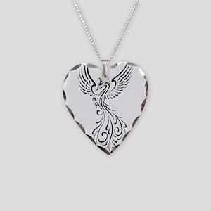 black-phoenix-bird Necklace Heart Charm