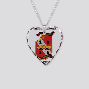 4th LAR Battalion with Text Necklace Heart Charm