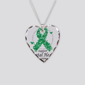 Mental-Health-Ribbon-of-Butte Necklace Heart Charm