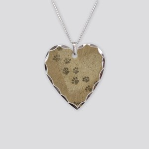 Paw Prints on our Hearts Necklace Heart Charm