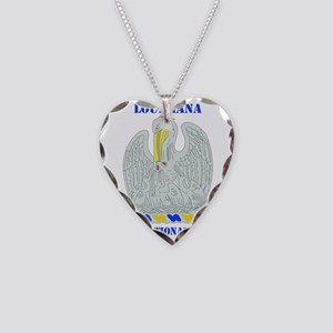 LOUISIANA ANG with text Necklace Heart Charm