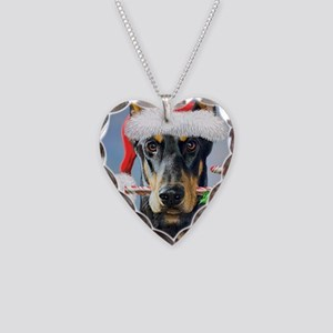Doberman Christmas Necklace Heart Charm