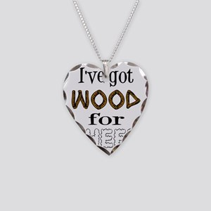 Wood for Sheep (text) Necklace Heart Charm