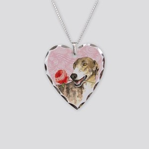 Greyhound Rose Necklace Heart Charm