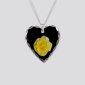 Yellow Rose Necklace Heart