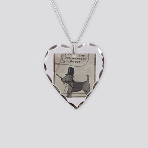 The Airedale Wants to go out Necklace Heart Charm