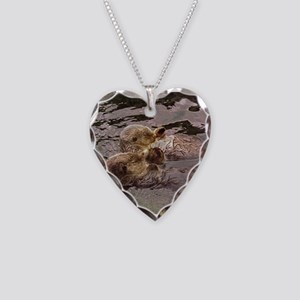 Sea Otters Holding Hands Necklace Heart Charm