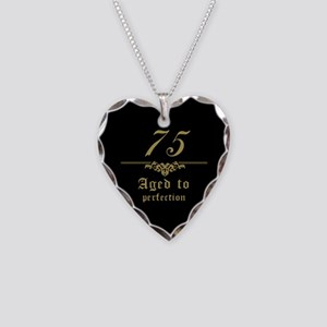 Fancy 75th Birthday Necklace Heart Charm