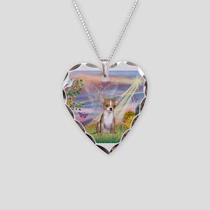 Cloud Angel / Chihuahua (f) Necklace Heart Charm