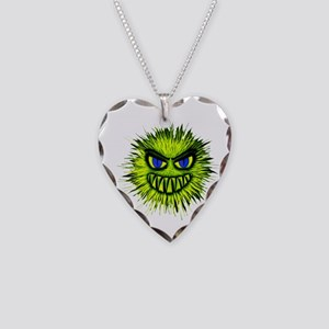 Green Spiky Monster Necklace Heart Charm