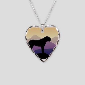 Purple Mountains Bullmastiff Necklace Heart Charm