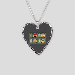 Emoji Phone Battery Necklace Heart Charm