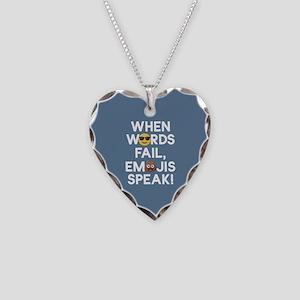 Emoji Words Fail Emojis Speak Necklace Heart Charm