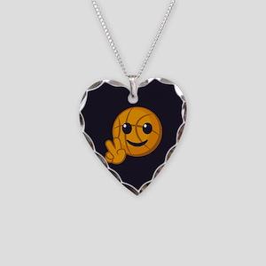 Basketball Peace Emoji Necklace Heart Charm