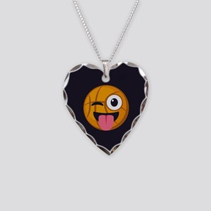 Basketball Tongue Emoji Necklace Heart Charm