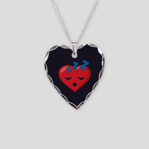Heart Sleeping Emoji Necklace Heart Charm