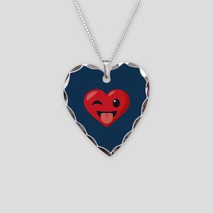 Heart Joking Emoji Necklace Heart Charm