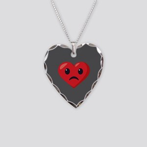 Heart Frowning Emoji Necklace Heart Charm