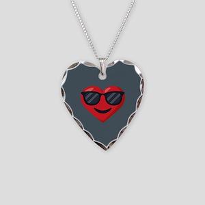 Heart Sunglasses Emoji Necklace Heart Charm