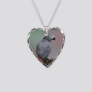 African Grey Necklace Heart Charm