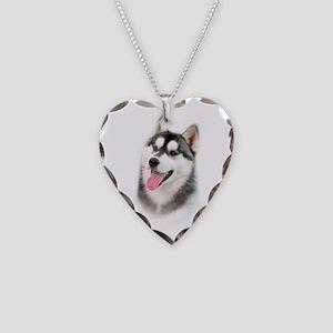 Siberian Husky Necklace Heart Charm