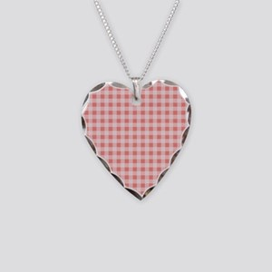 Coral Pink White Gingham Necklace