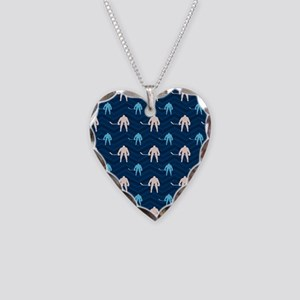 Blue and Tan Chevron Ice Hockey Necklace