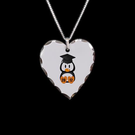 Custom Gradution Penguin Necklace Heart Charm