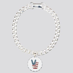 Peace Sign USA Vintage Charm Bracelet, One Charm